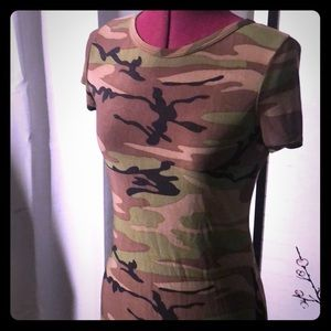 Slinky camo shirt dress